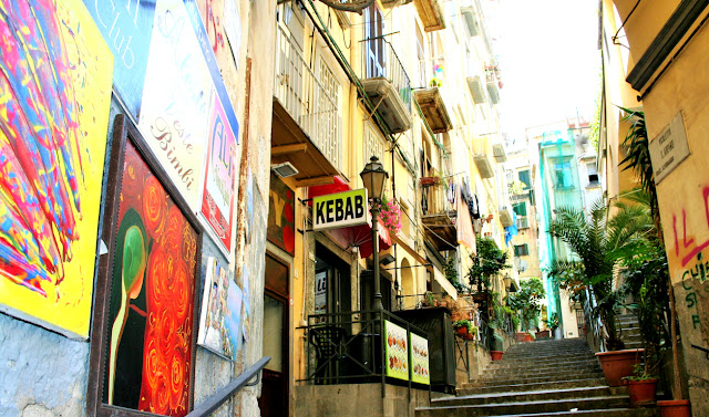 via, centro Napoli, quadri, colori, scale, città, piante