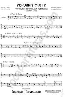 Partitura de Clarinete Popurrí Mix 12 Partituras de Al Pasar la Barca, Mi Barba tiene tres pelos, El buen rabadan, Aur Clair de la luna Infanti Sheet Music for Clarinet