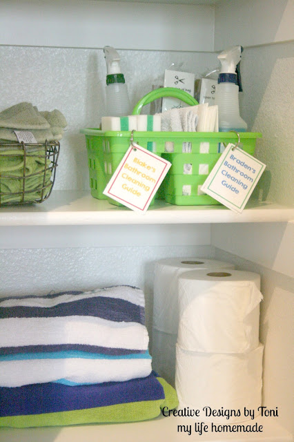 my life homemade: DIY Bathroom Cleaning Caddie for Kids