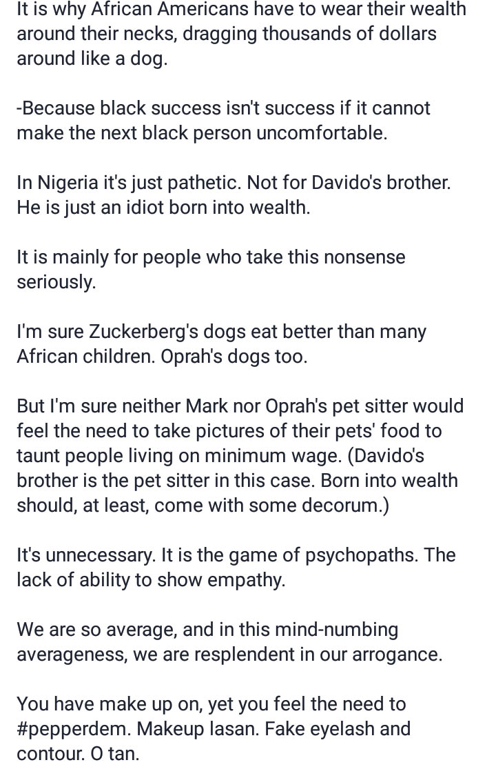My dog eats better than some of you: Girl replies Davido's brother