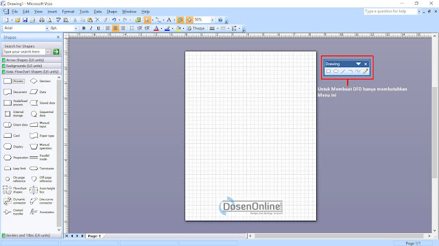 Cara Mudah Membuat DAD atau DFD dengan Visio 2007, Kertas kerja membuat DFD mudah dengan Visio