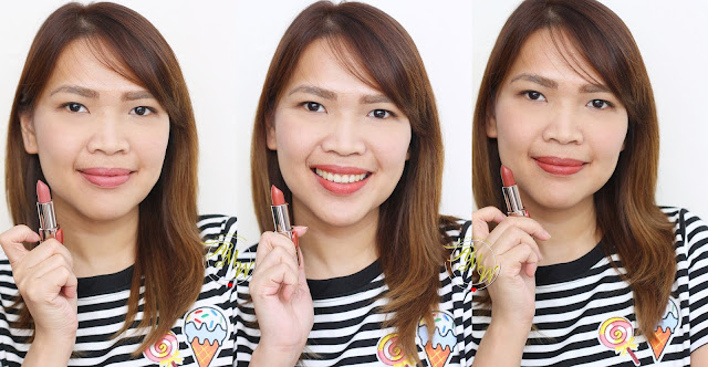 a photo of Nikki Tiu wearing L'Oreal Color Riche Lipsticks in Maple Mocha, Rose Fondu and Chocolat Rouge