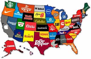 Mapa comercial de Estados Unidos y sus marcas comerciales. Marcas comerciales importantes de los Estados Unidos