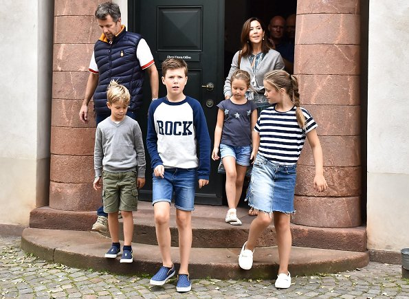 Crown Princess Mary wore SEA Sabine printed silk crepe dress. Prince Frederik, Prince Christian, Princess Isabella, Prince Vincent, Princess Josephine