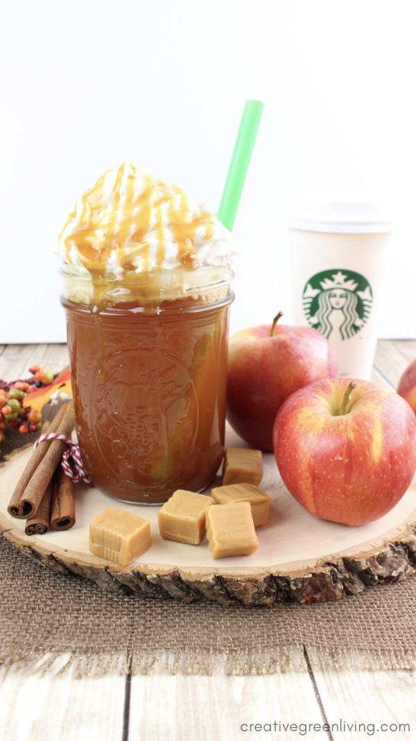 Starbucks caramel apple  spice recipe knock off - a hot apple cider recipe with cinnamon syrup topped with whipped cream and caramel sauce