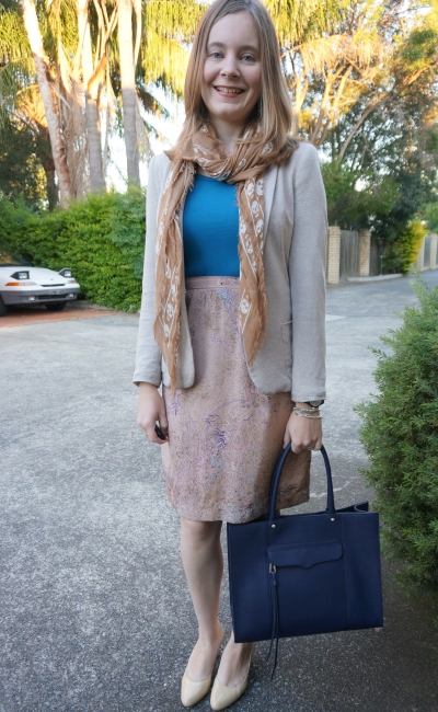 pastel blazer and printed pencil skirt with bright blue top for office RM MAB Tote