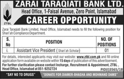 Jobs Vacancies In Zarai Taraqiati Bank Limited 03 February 2019
