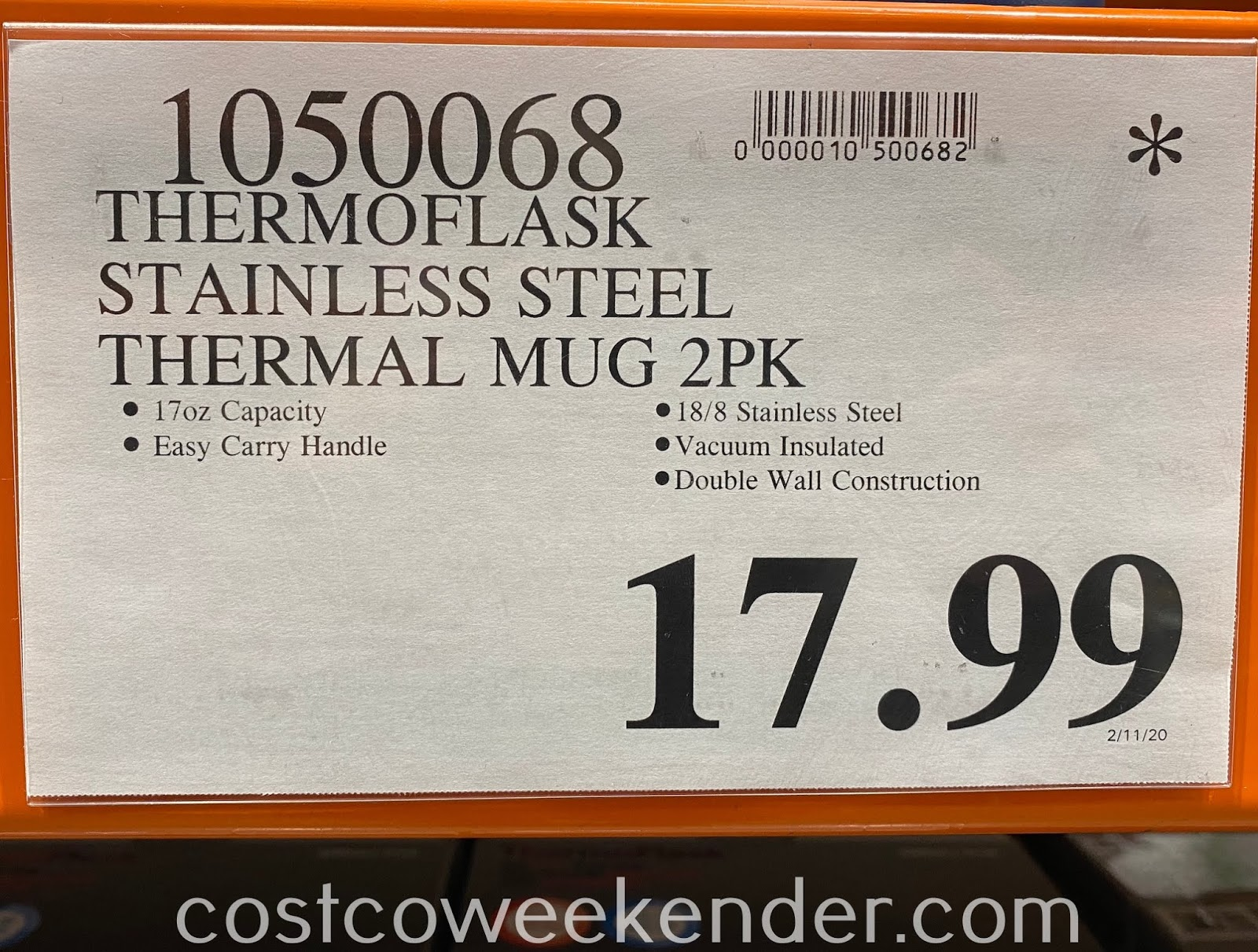 Deal for a set of 2 ThermoFlask Stainless Steel Travel Mugs at Costco