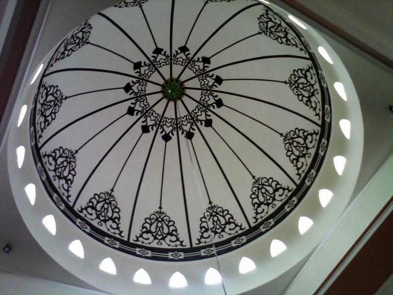 Desain interior kubah masjid konsep kaligrafi