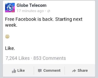Globe Telecom Free FB post