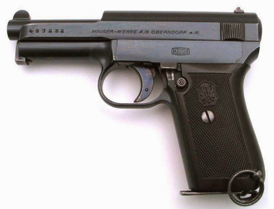 A Mauser 1914/34 pistol (serial #487232) - Josef's pistol  would have looked very similar to this one.  (From Mauser Guns - opens as a pdf file)