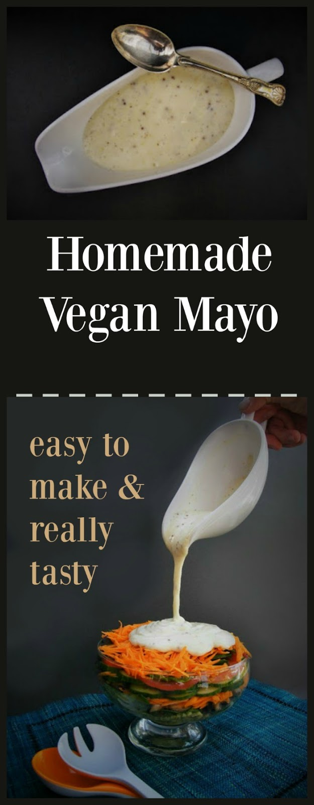 Homemade vegan mayonnaise. It's a simple dressing to make. You start with unsweetened soya milk, wholegrain mustard, some lemon juice and black pepper in a blender. Whizz these up, while slowly drizzling in some olive oil. Once you have tried this, you will be loath to buy mayonnaise again.