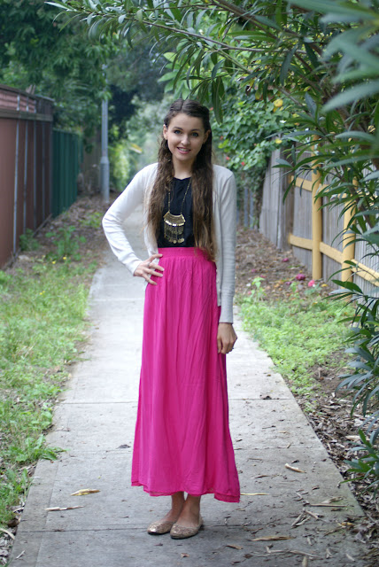 Real Girl Fashion Inspiration - Pink Maxi Skirt, Black Top, Cream Cardigan, Sparkly Flats and Statement Necklace