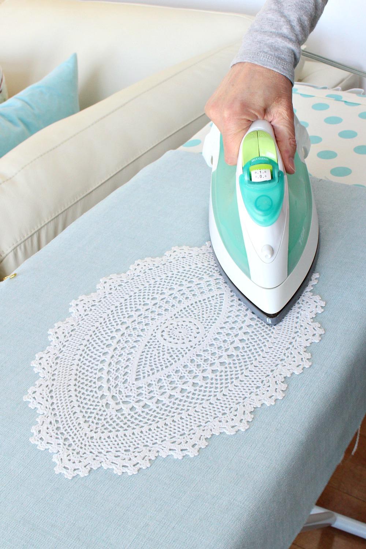 How to glue a doily to fabric