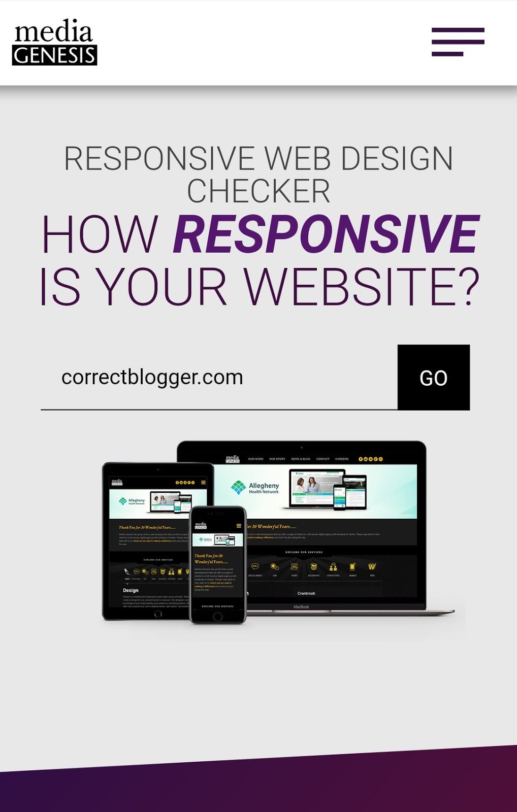 responsive design checker homepage