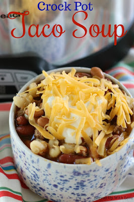 Crock Pot Taco Soup recipe with hominy from Served Up With Love