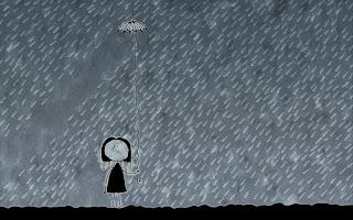 Mujer con sombrilla bajo lluvia