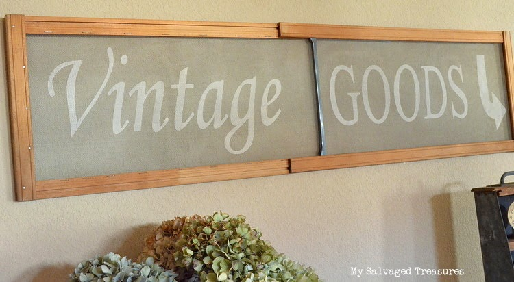 vintage goods DIY stenciled window screen Silhouette Cameo project
