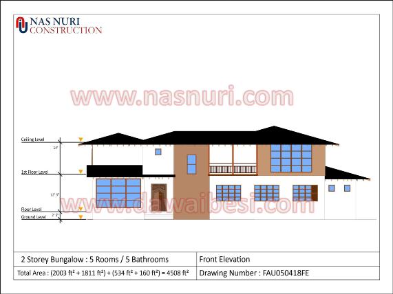 Pelan Rumah Banglo 1 Tingkat rajah ketinggian rumah
