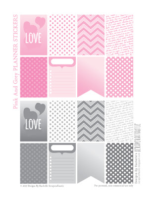 Pink & Grey Printable Planner Stickers