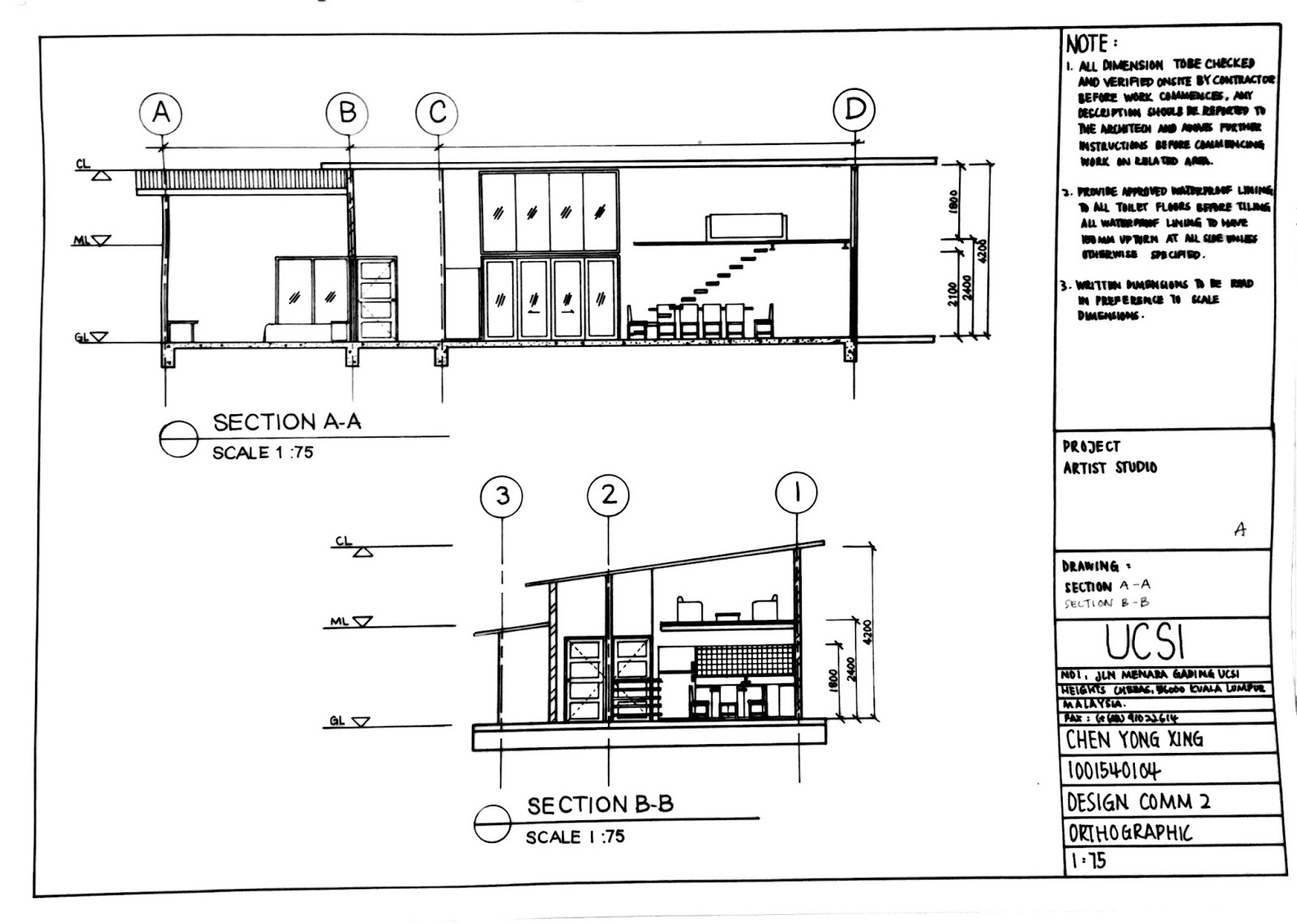 Mezzanine Floor Elevation : Ucsi ba hons interior architecture sem orthographic