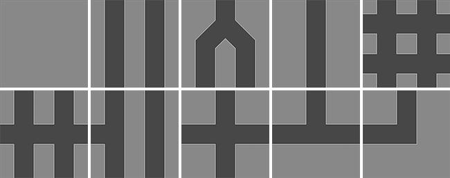 Piezas de puzzle de carreteras
