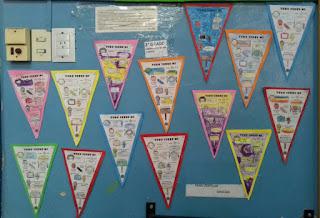 Imagen con banderines escritos por los niños