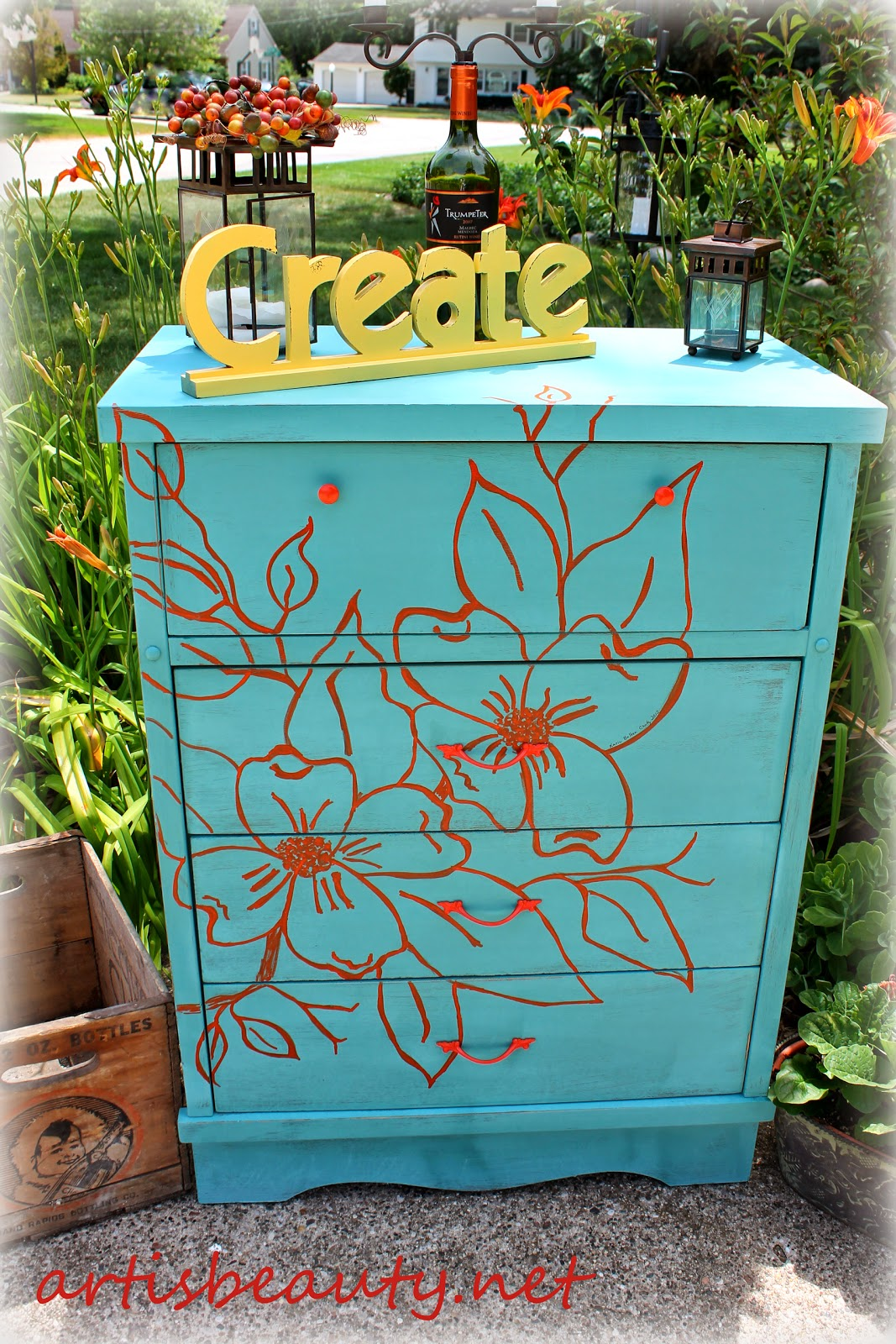 Hand painted artwork dogwood dresser makeover orange and blue compimentary colors diy before and after recycled