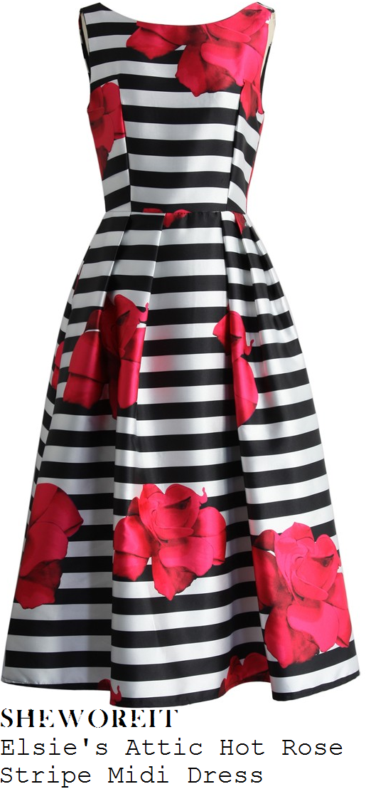 lorraine-kelly-elsie's-attic-hot-pink-red-black-and-white-oversized-rose-floral-and-stripe-print-sleeveless-boat-neck-high-waisted-full-skirt-midi-dress