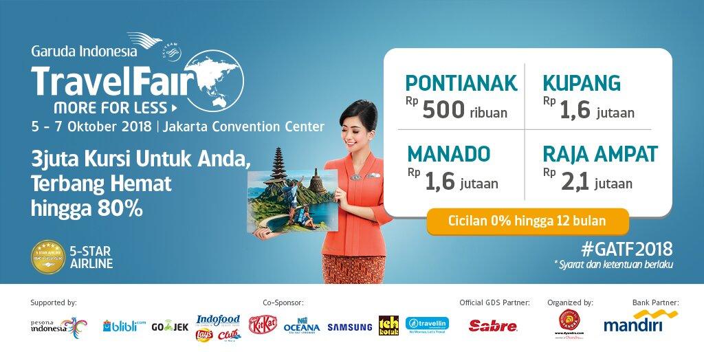 Garuda Indonesia - Promo Terbang Hemat s.d 80% di Travel Fair 2018 (05 - 07 Okt 2018)