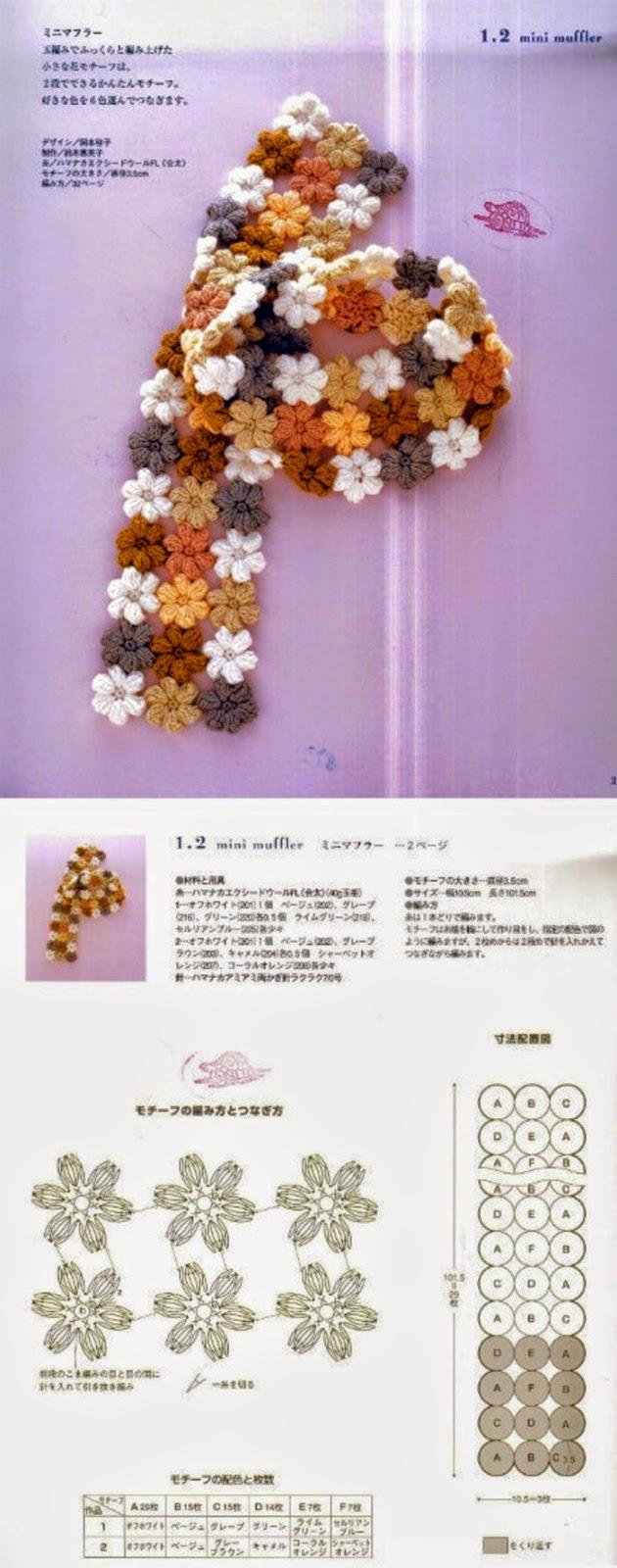Bufanda crochet realizada con flores
