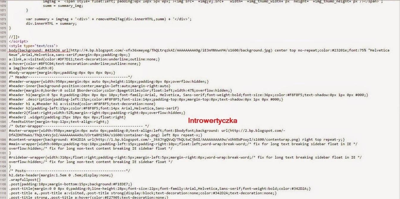 Szablon z zewnątrz - kod HTML