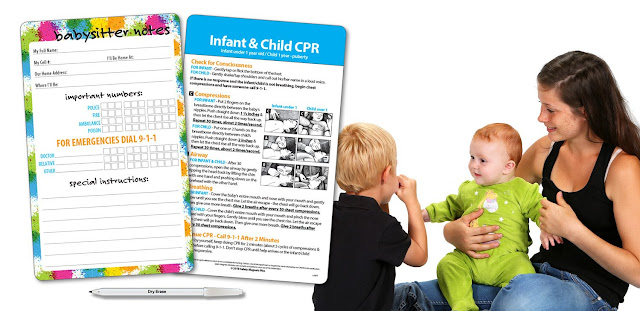 Image: Babysitter Information with Infant and Child CPR | Laminated Card Comes with Dry Erase Pen | Magnets on Back