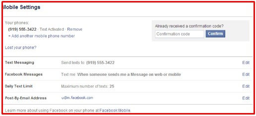 32665 facebook mobile confirmation code