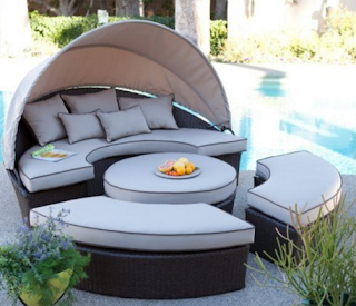 Wicker Sectional Outdoor Daybed with Sunbrella Shade