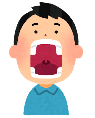 大きな口を開けている人のイラスト(男性)