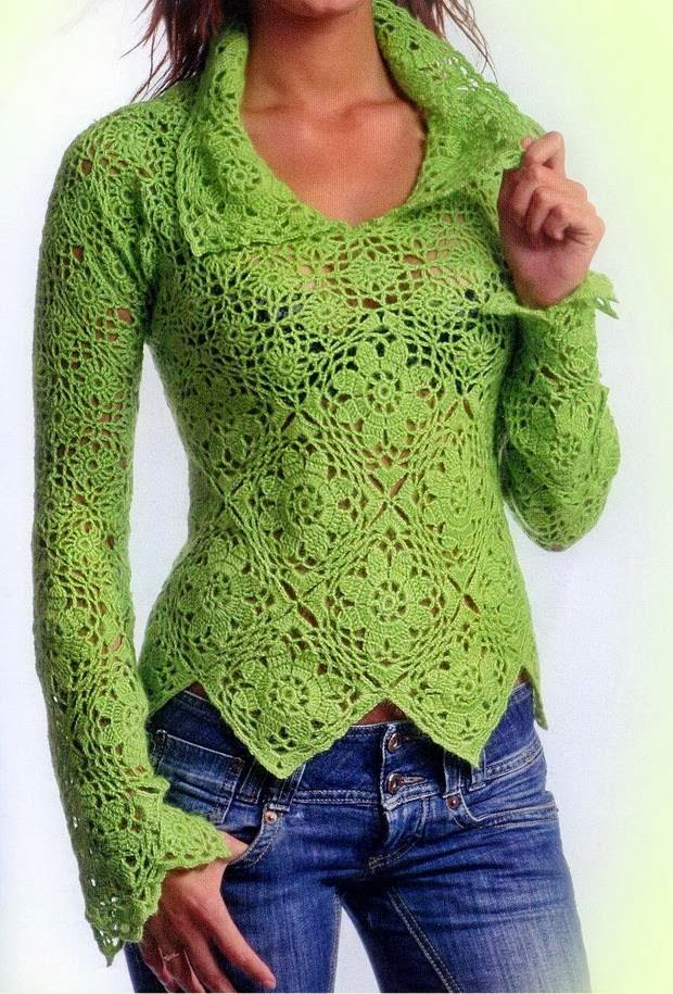 Free Crochet Pattern Jumper : Crochet Sweaters: Crochet Sweater For Women - Elegant
