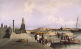 View of the Neva River at the Descent of the Academy of Arts by Ferdinand Perrot - Cityscape, Landscape Art Prints from Hermitage Museum