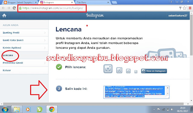 Cara Memasang Widget Tombol Follow Instagram Di Blog