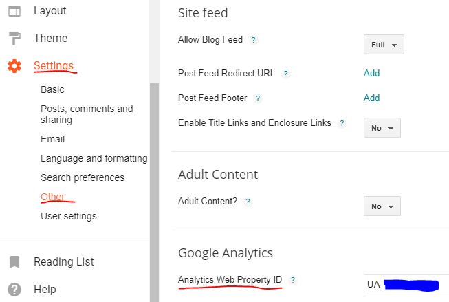 google analytics blogger
