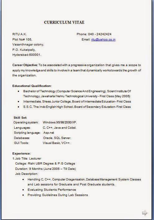 resume format  resume format job application download