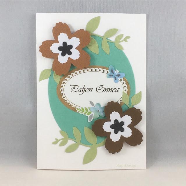 Greetings Happy Birthday card handmade mint turquoise SapiDesign