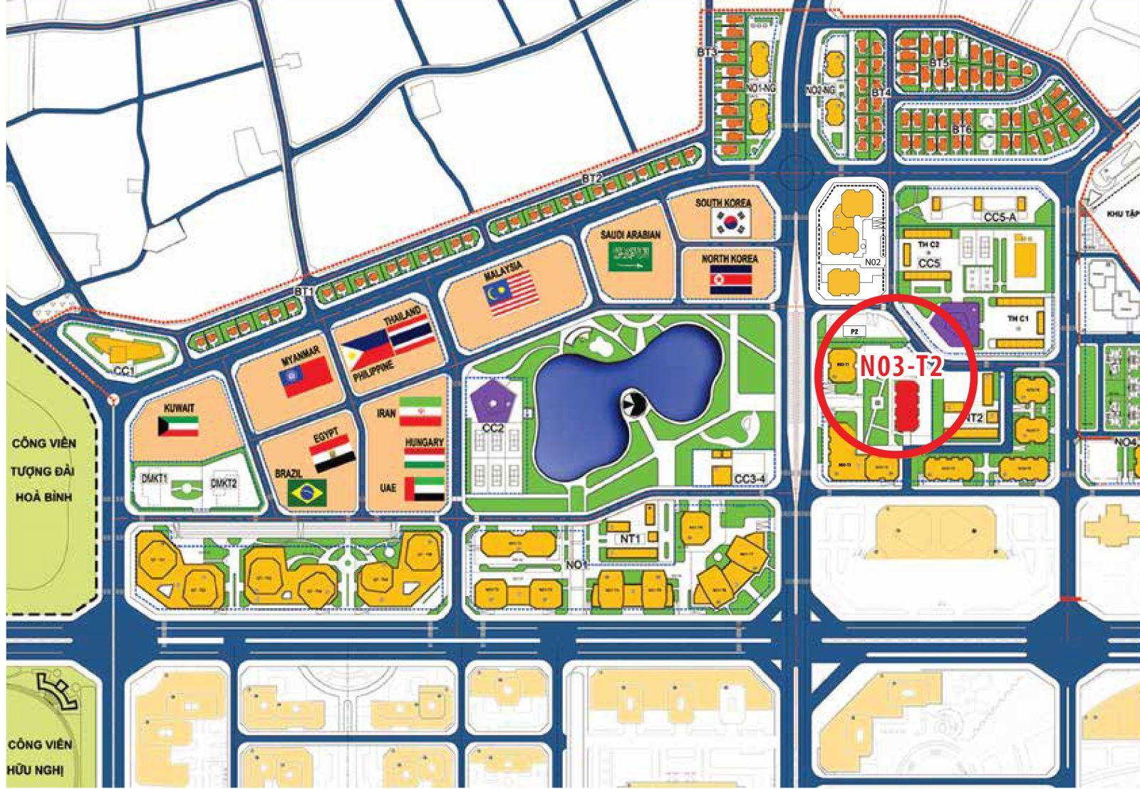 Vị trí chung cư N03T2 Ngoại Giao Đoàn - Taseco Complex