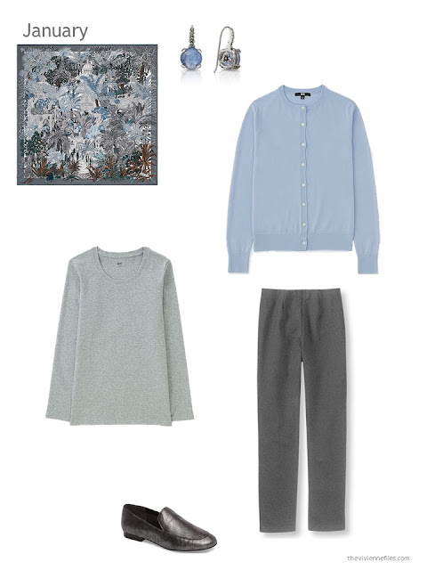 Hermes Jardin a Sintra scarf with a light blue cardigan, grey tee and charcoal grey pants