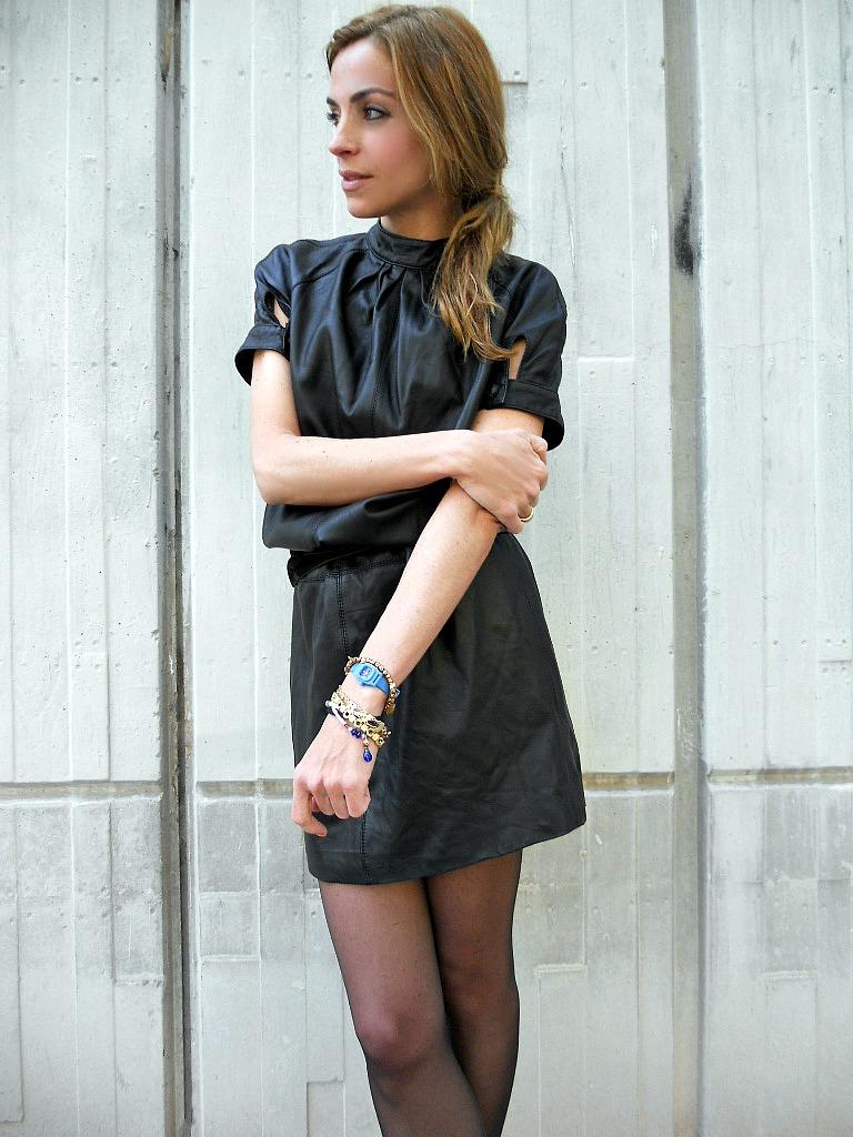 Vestido piel con negro