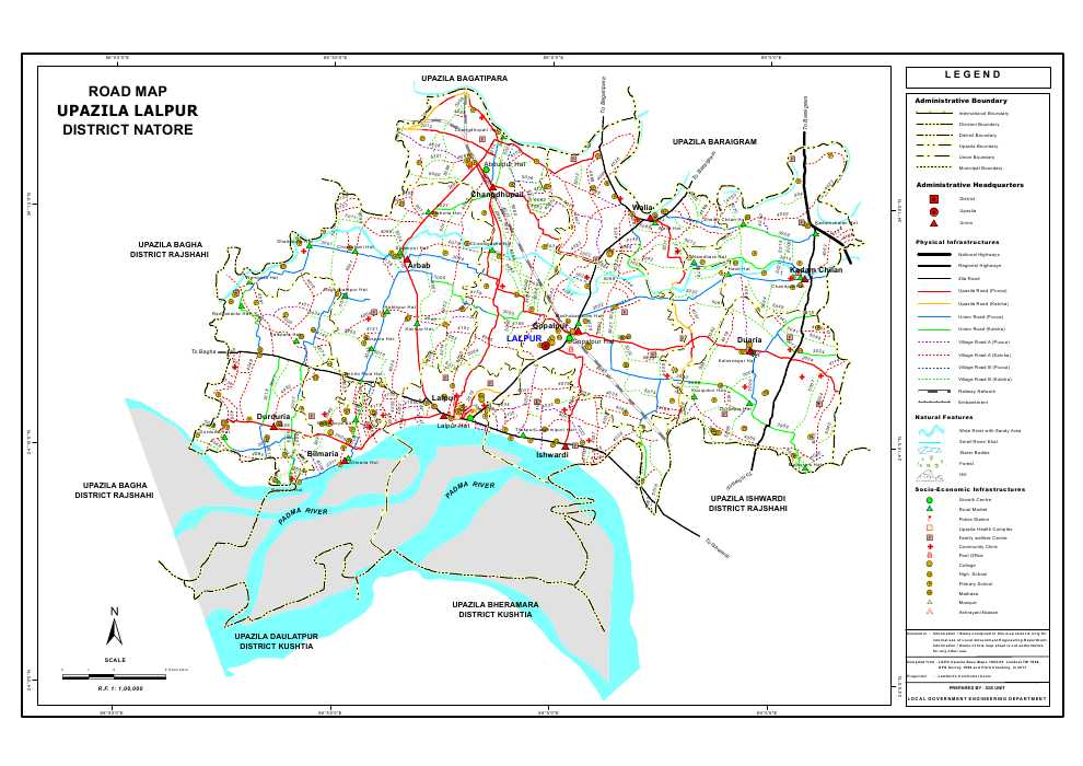Lalpur Upazila Road Map Natore District Bangladesh