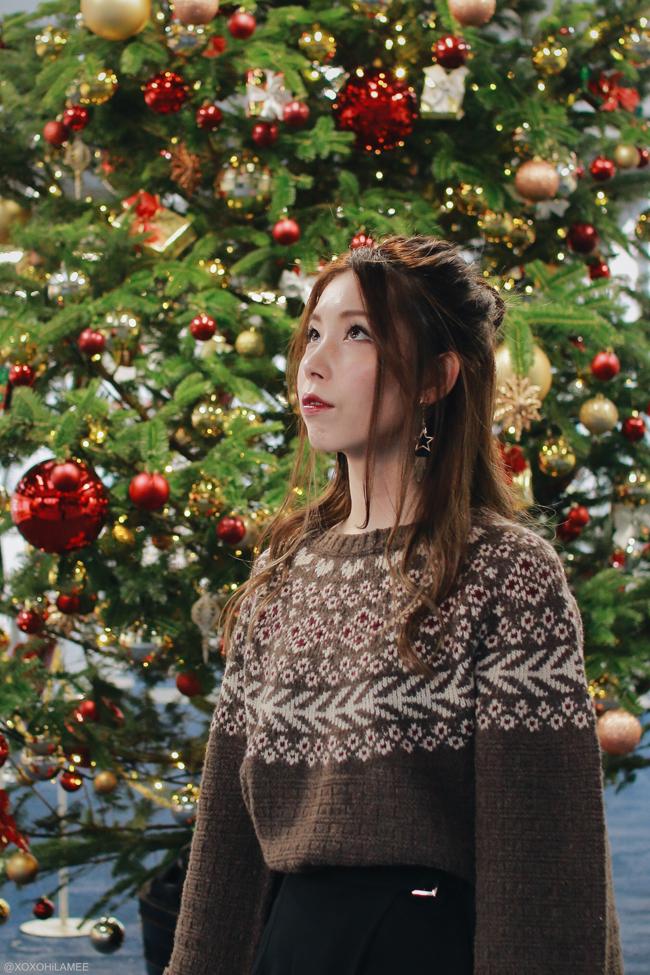 Japanese Fashion Blogger,MizuhoK,OOTD,omni7 christmas party look,FUR FUR-nordic knit sweater,CHOIES-wrap skirt,SheIn-sock boots,star earrings,ZARA-bag,Andreas Ingeman-Watch