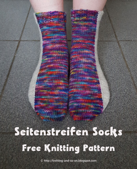 Seitenstreifen Socks - free knitting pattern by Knitting and so on