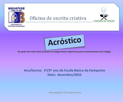 Oficina de escrita criativa - Cozinha de Ideias - EBFaniqueira - dez/16