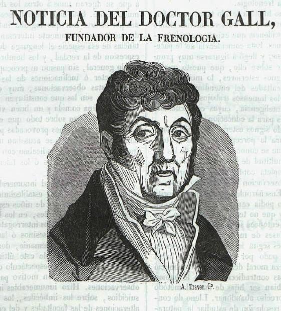 Doctor Franz Joseph Gall, grabado publicado en El Feníx, Valencia, 2-5-1847